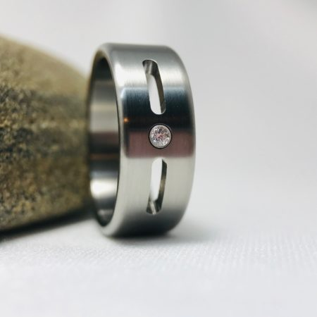 titanium wedding ring with stone setting